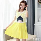 2019夏季新款孕婦上衣韓版短袖休閒夏裝兩件套時尚可愛zt702 『麗人雅苑』
