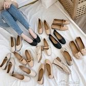 豆豆鞋 2019新款春秋奶奶鞋粗跟中跟單鞋韓版百搭平底ins四季豆豆鞋
