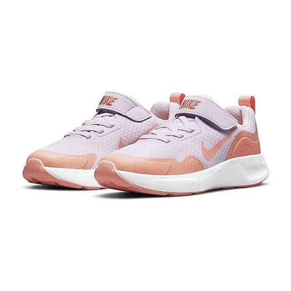 NIKE童鞋 女童 WEARALLDAY 慢跑鞋 透氣網布 魔鬼氈運動鞋 跑步鞋 Q7147#白橘◆OSOME奧森鞋業