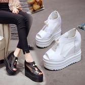 厚底羅馬涼鞋 女珍珠網紗內增高女鞋12cm超高跟魚嘴鞋