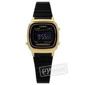 CASIO / LA670WEGB-1B / 卡西歐 復刻品味 計時 電子 不鏽鋼手錶 金框x鍍黑 24mm