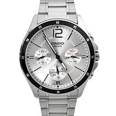 CASIO手錶 12刻度三眼鋼錶NECE52