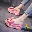 粉色厚底拖鞋女夏季外穿坡跟松糕內增高涼拖鞋【創世紀生活館】