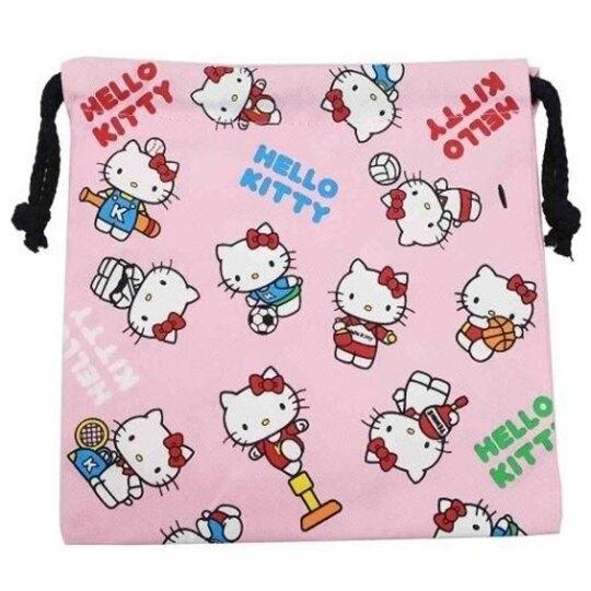 〔小禮堂〕Hello Kitty 棉質束口袋《粉白.運動裝》20x20cm.縮口袋.收納袋 4549204-54182