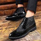 男士皮鞋男韓版時尚潮流夜店發型師男鞋子英倫休閒亮面潮鞋增高鞋 新品促銷