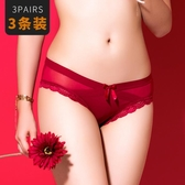 紅色本命年內褲女蕾絲低腰火辣性感無痕鏤空女士三角褲提臀純棉檔