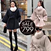 克妹Ke-Mei【ZT56611】辣美人必備奢華大毛領可拆腰帶長毛尼大衣外套