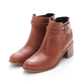 MICHELLE PARK 美型穿搭 雙皮帶小飾扣高跟短靴-橘棕