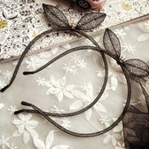 UNICO 韓版 水晶鑽立體網紗兔耳朵造型髮箍