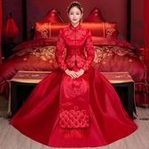 秀禾服2020新款新娘結婚禮服長袖紅色春季中式婚紗嫁衣敬酒龍鳳褂 (pink Q 時尚女裝)