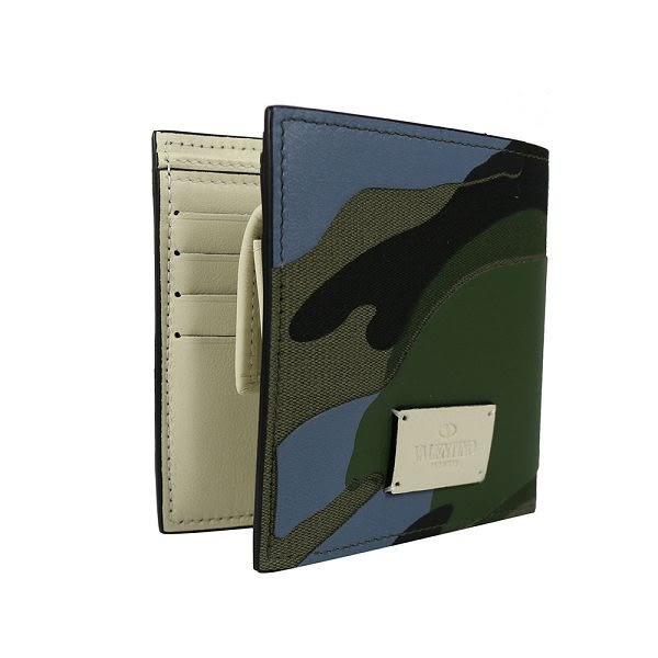 【VALENTINO】軍綠迷彩8卡零錢袋短夾(內奶茶色) KY0P0617TND L38