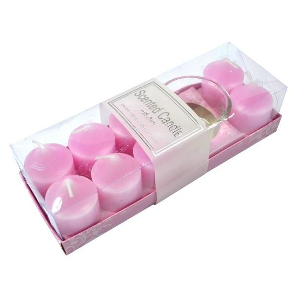 【DS212】香精蠟燭8入+燭臺 情人節禮物 浪漫的薰香蠟燭 薰香台 玫瑰薰香燭(可超取) EZGO商城