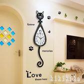 掛鐘 鐘表掛鐘客廳現代簡約時鐘創意時尚石英鐘靜音卡通貓兒童房鐘表大  XY9832【KIKIKOKO】TW