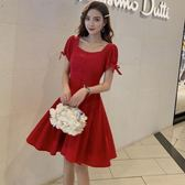 (工廠直銷不退換)8105#紅色高腰a字方領法式復古連身裙女夏新款短款裙G-326-B韓依戀
