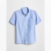 Gap男童簡約風格純色短袖襯衫699641-牛津藍