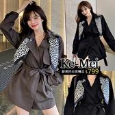 克妹Ke-Mei【ZT62520】歐洲站 英倫風絲巾立領腰帶排釦西裝大衣外套
