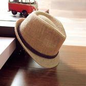 帽子女防曬夏天復古鴨舌草帽英倫爵士禮帽