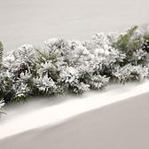 聖誕節粘雪鬆枝藤條聖誕樹上掛飾門掛墻面裝飾學校餐廳裝飾道具品 雙十二全館免運