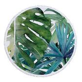 沙灘巾 綠葉 圖騰 印花 流蘇 野餐巾 海灘巾 圓形沙灘巾 150*150【YC015】 icoca  04/03