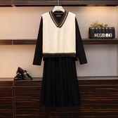 大尺碼XL-5XL/棉花糖大碼女裝洋裝針織馬甲洋氣藏肉連衣裙兩件套4F119.8279韓依紡