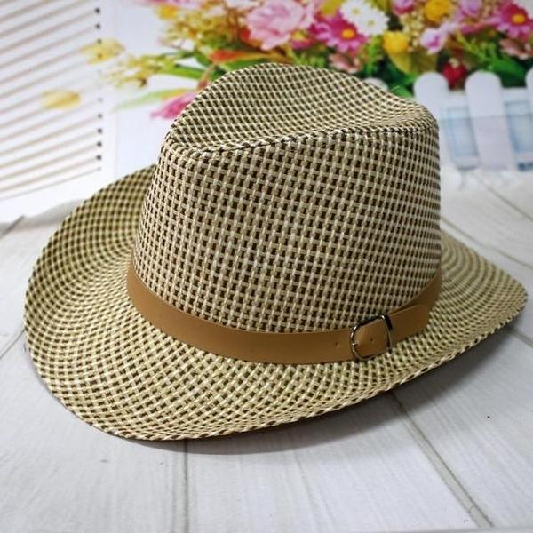全場九五折 春夏季草編三色中沿牛仔帽 透氣這樣戶外休閑寬沿禮帽夏涼帽草帽
