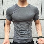 運動科技緊身衣短袖彈力健身衣男圓領速干速干教練跑步訓練短袖 【萬聖夜來臨】
