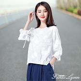 白色繡花棉麻T恤女2021春夏新款七分袖系帶體恤刺繡寬鬆百搭上衣 范思蓮恩