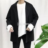 韓國氣質寬鬆雙排扣純色西裝男青年復古文藝休閒英倫西服外套  瑪奇哈朵