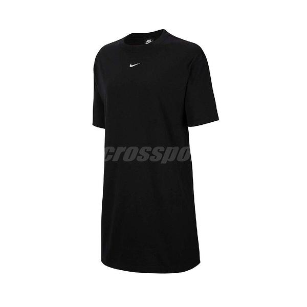 Nike 洋裝 NSW Essential Dress 黑 白 女款 長版T恤 運動休閒 【ACS】 CJ2243-010