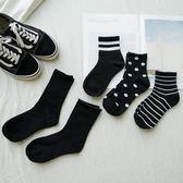 洋芋妹-學院風潮流圓點條紋棉質中筒襪 5款【SB12026】