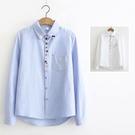 *ORead*日系文藝範彩扣口袋刺繡長袖襯衫(2色S~L)