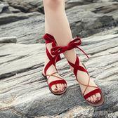 綁帶涼鞋 平底羅馬涼鞋女露趾夏季韓版學生軟妹涼鞋女綁帶百搭原宿   Cocoa