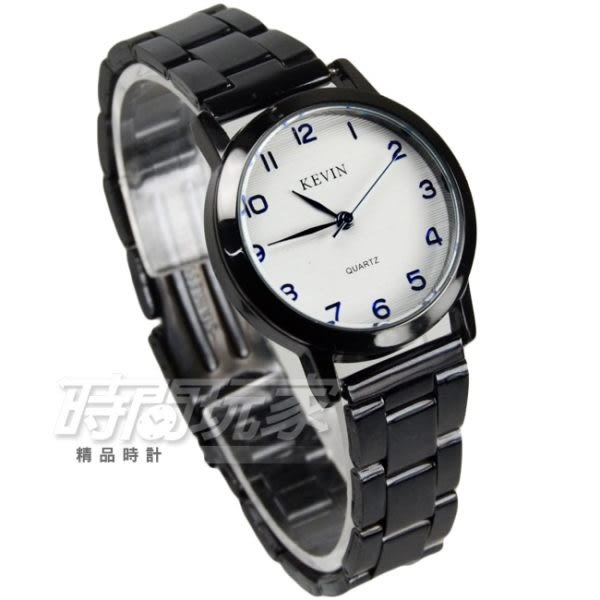 KEVIN 簡單百搭數字女錶 防水手錶 IP黑電鍍 學生手錶 白底 KV2280黑字小