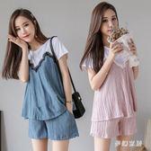 時尚孕婦套裝 夏裝款新款潮媽短袖短褲外穿休閒兩件套  yu4033『夢幻家居』