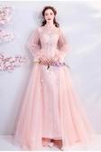 歐尚-璀璨花瓣粉色長袖新娘結婚敬酒服晚宴年會婚紗禮服061
