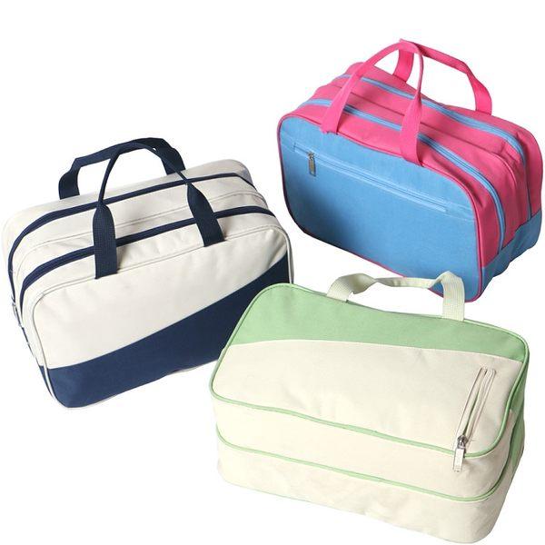 《簡單購》大容量防潑水乾濕分離撞色運動手提包/游泳包