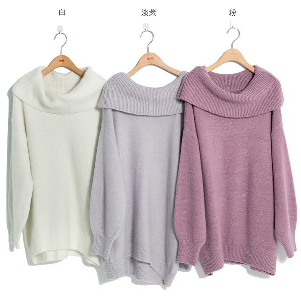 秋冬7折[H2O]活動領可多種穿法馬海毛加蔥長版毛衣 - 淡紫/白/粉色 #9650020