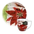 德國Waechtersbach經典彩繪系列390ml馬克杯+21cm盤組-Traditions聖誕紅