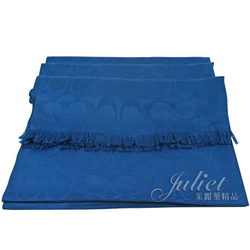茱麗葉精品 全新精品 COACH 86011 經典LOGO圖案羊毛絲質披肩長圍巾.藍