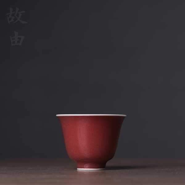 祭紅釉花神杯品茗杯茶杯主人杯個人杯陶瓷功夫茶具【聚寶屋】