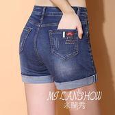 新款高腰牛仔短褲女士夏季卷邊復古大碼彈力顯瘦三分a字熱褲