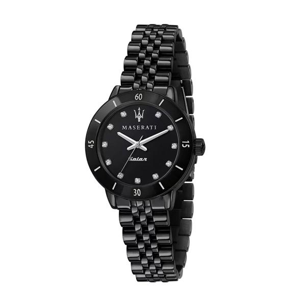 【Maserati 瑪莎拉蒂】SUCCESSO LADY 光動能晶鑽優雅鋼帶腕錶-極淨黑/R8853145501/台灣總代理享兩年保固