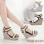 STAR SHOES-可愛小波點高跟楔型涼鞋