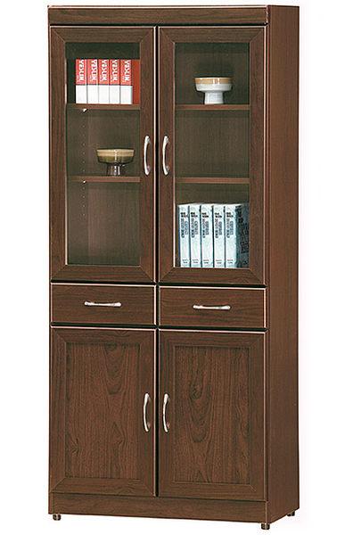 [ 家事達]台灣OA-579-6 胡桃色中抽美背 玻璃書櫃 特價--已組裝限送台中市/苗栗/彰化/南投縣市