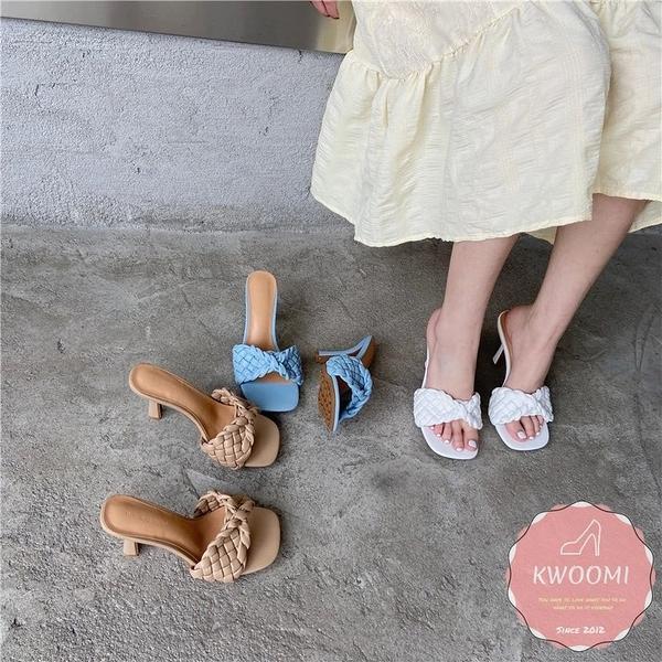 高跟涼拖鞋 蝴蝶編織款細跟 高跟鞋 涼鞋*KWOOMI-A34