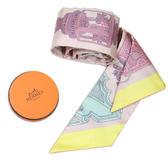 HERMES 絢麗燈籠圖案  Twilly絲巾 米粉紅色 全新品