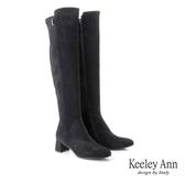 ★2019秋冬★Keeley Ann經典素面 金屬飾釦秀氣粗跟膝上靴(黑色) -Ann系列