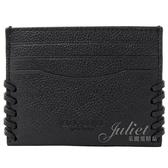 茱麗葉精品【全新現貨】COACH 22370 壓印LOGO牛皮編織邊造型信用卡名片夾.黑