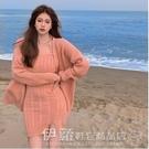 毛衣裙 法式吊帶針織連身裙女秋冬2020年新款性感修身毛衣短裙子外套套裝 伊蘿
