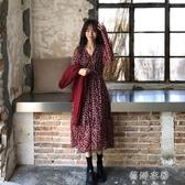 洋裝秋冬裝新款韓版ins百搭法式碎花桔梗裙中長款過膝洋裝女潮 蓓娜衣都